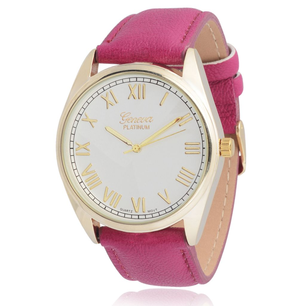 627-692 - Geneva Platinum Women's Quartz Faux Leather Strap Watch