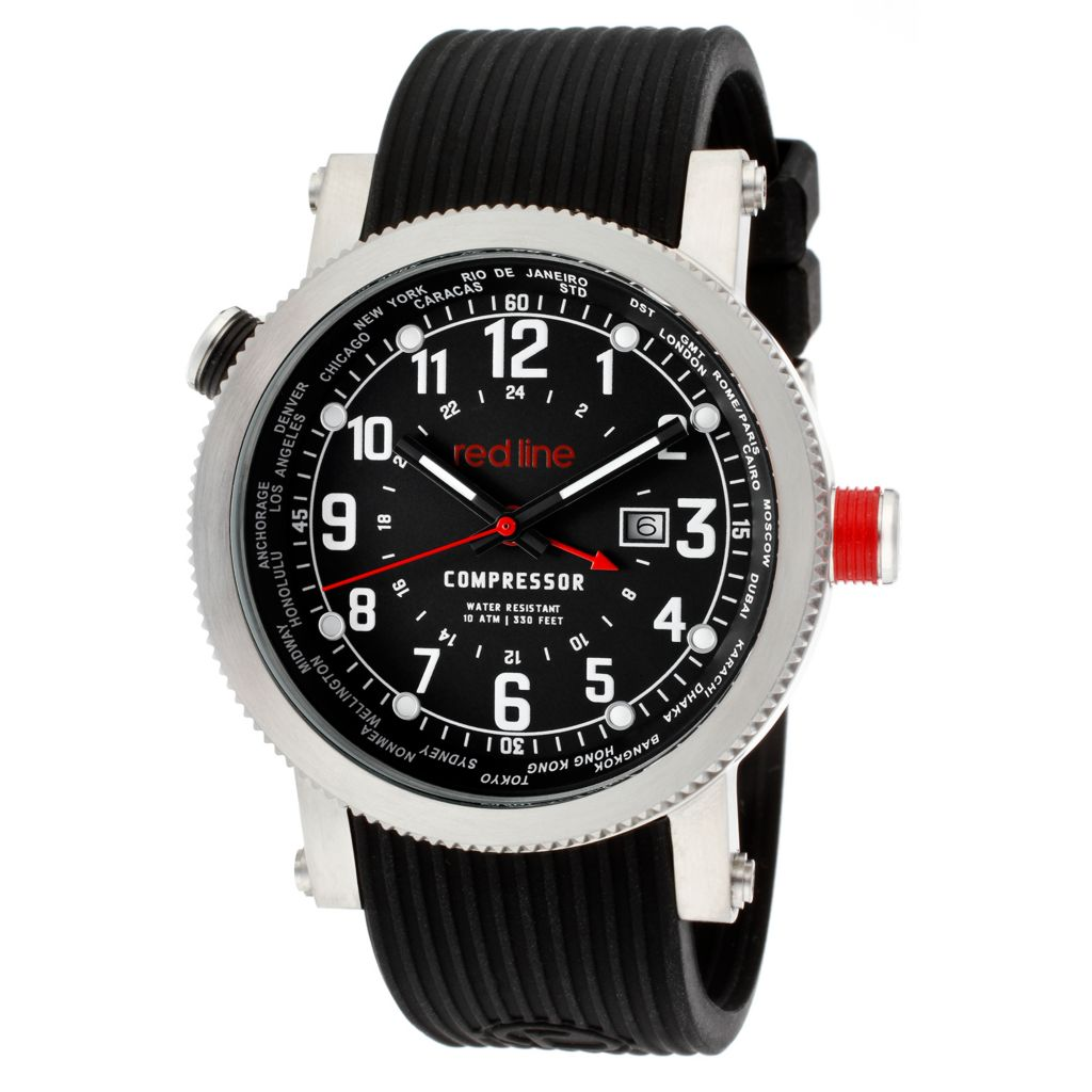 627-698 - Red Line 45mm Compressor Quartz World Time Textured Silicone Strap Watch