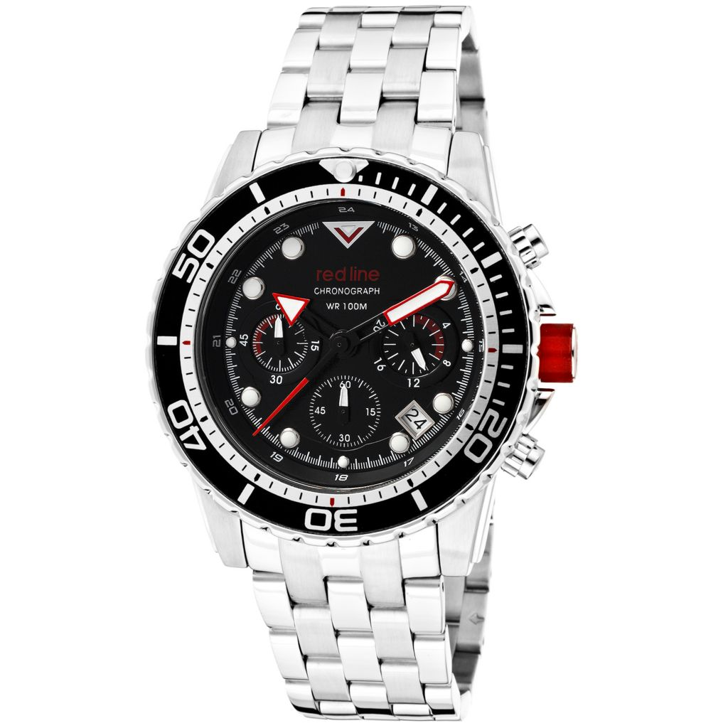 627-708 - Red Line 44mm Piston Quartz Chronograph Stainless Steel Bracelet Watch