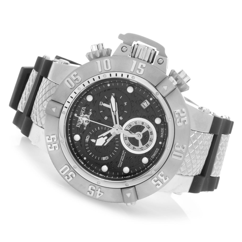 627-721 - Invicta 50mm Subaqua Noma III Swiss Chronograph Silicone Strap Watch w/ Three-Slot Dive Case