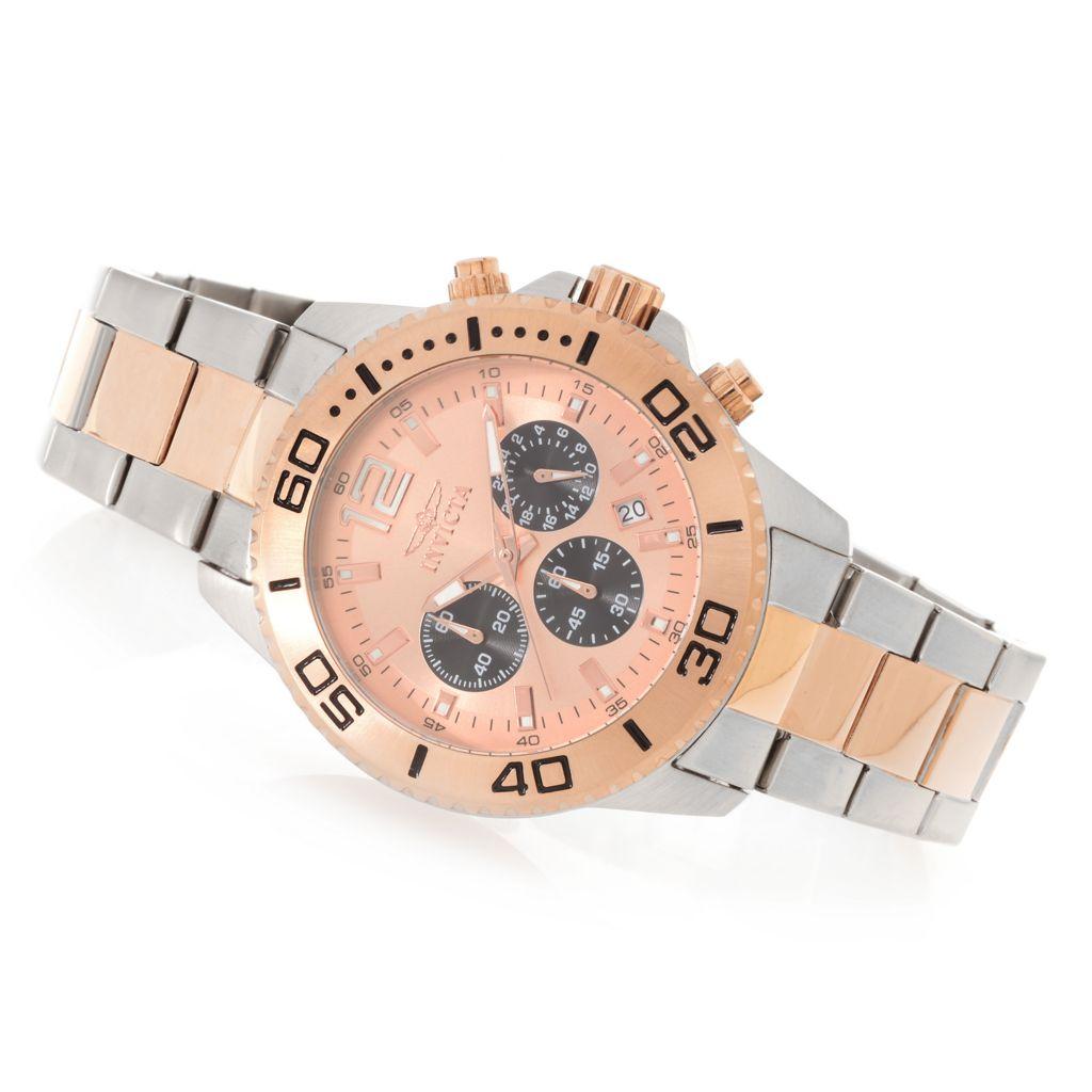 627-727 - Invicta 45mm Pro Diver Quartz Chronograph Stainless Steel Bracelet Watch w/ Three-Slot Dive Case
