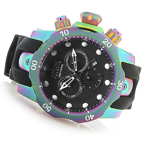 627-734 - Invicta Reserve 52mm Venom Swiss Quartz Chronograph Iridescent Case Polyurethane Strap Watch