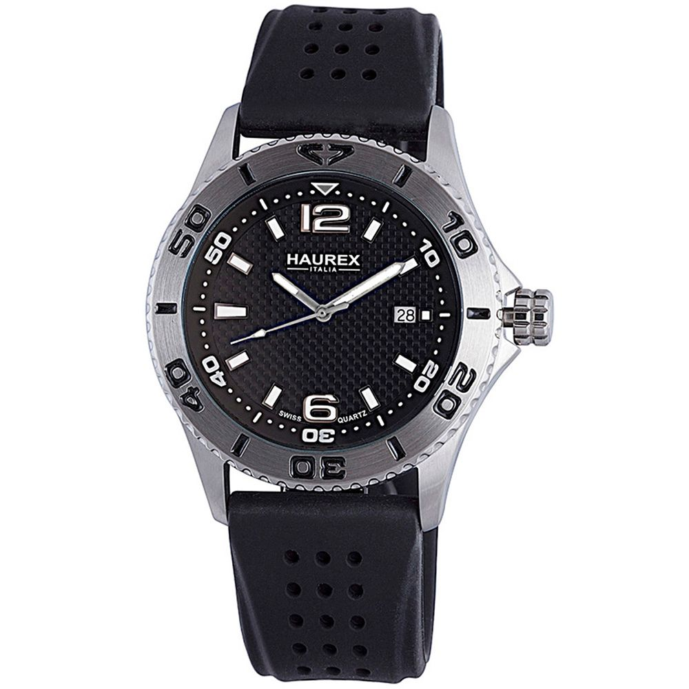 627-739 - Haurex Italy 44mm Factor Swiss Quartz Black Rubber Strap Watch