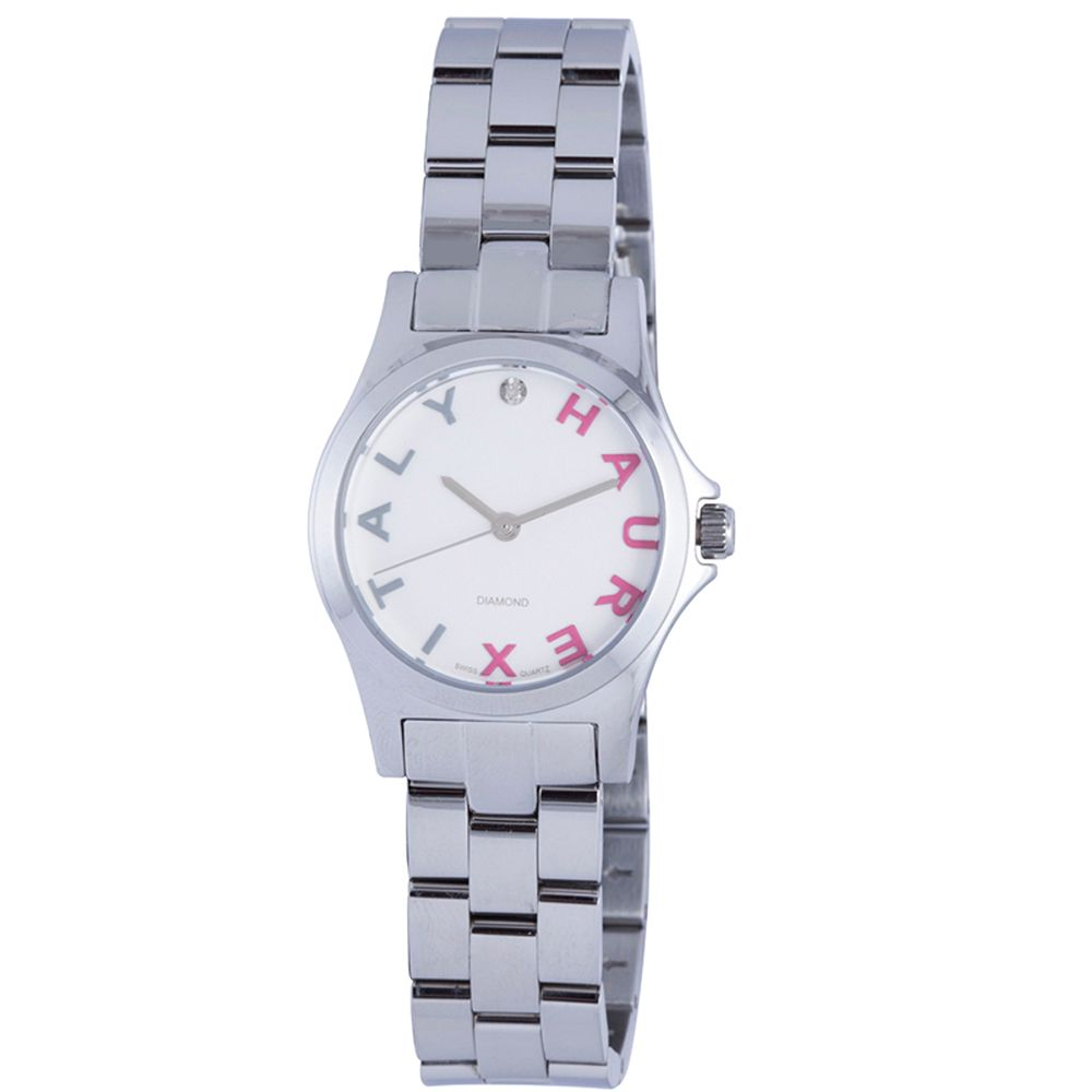 627-747 - Haurex Italy Women's City Swiss Quartz Diamond Accented Stainless Steel Bracelet Watch