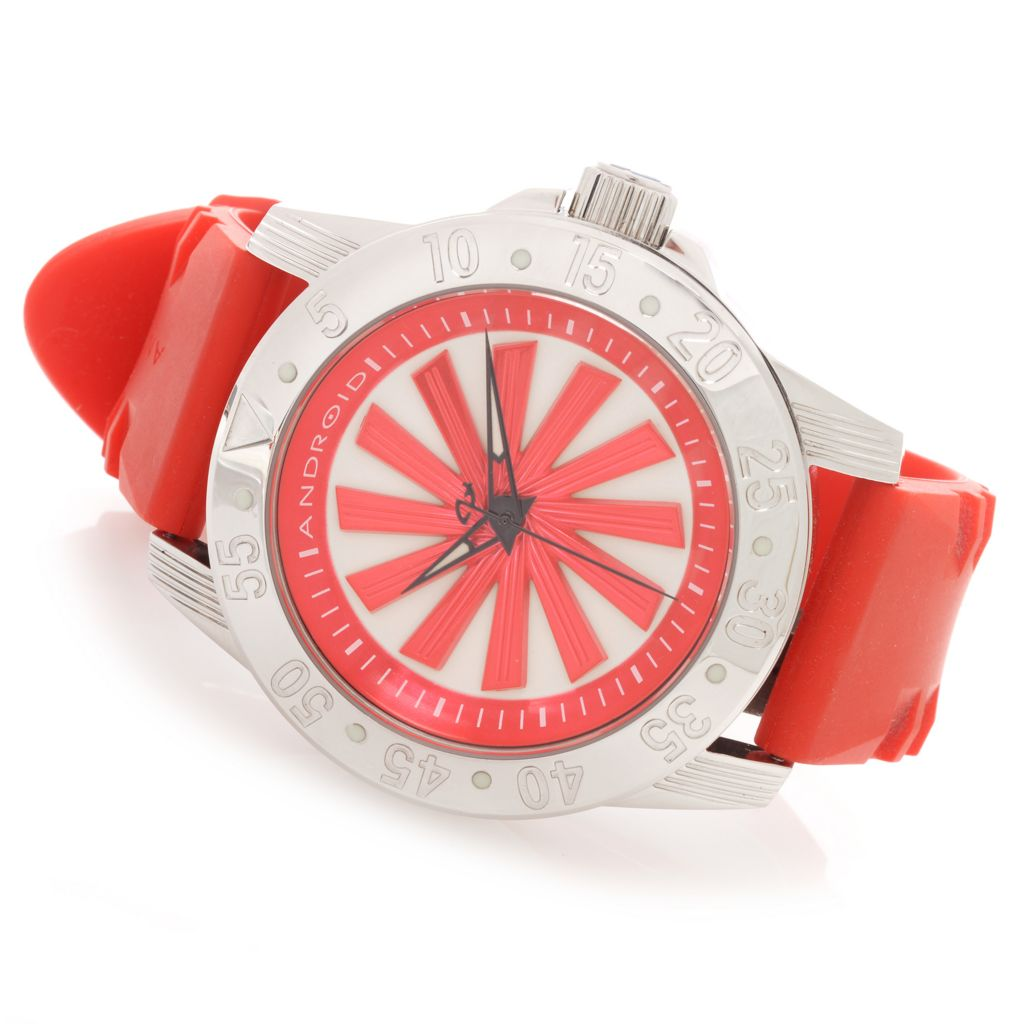 627-751 - Android 48mm Time Machine Sport Automatic Spinning Rotor Rubber Strap Watch
