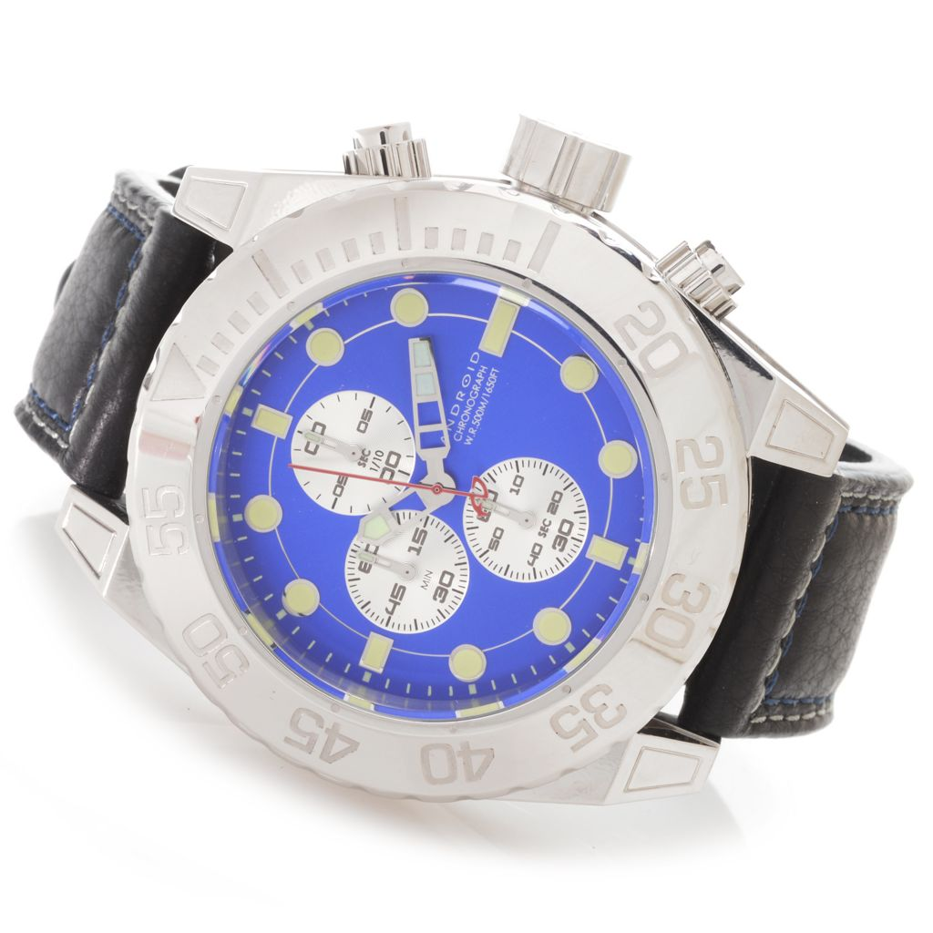 627-752 - Android 50mm Silverjet Quartz Chronograph Deep Dish Dial Leather Strap Watch
