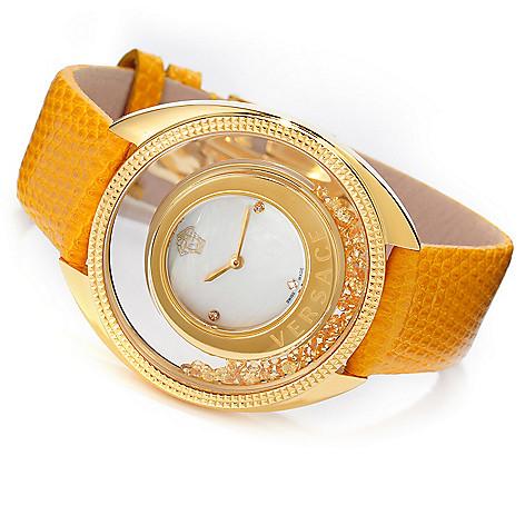 627-756 - Versace Women's Destiny Spirit Swiss Quartz 2ctw Sapphire Accented Lizard Strap Watch