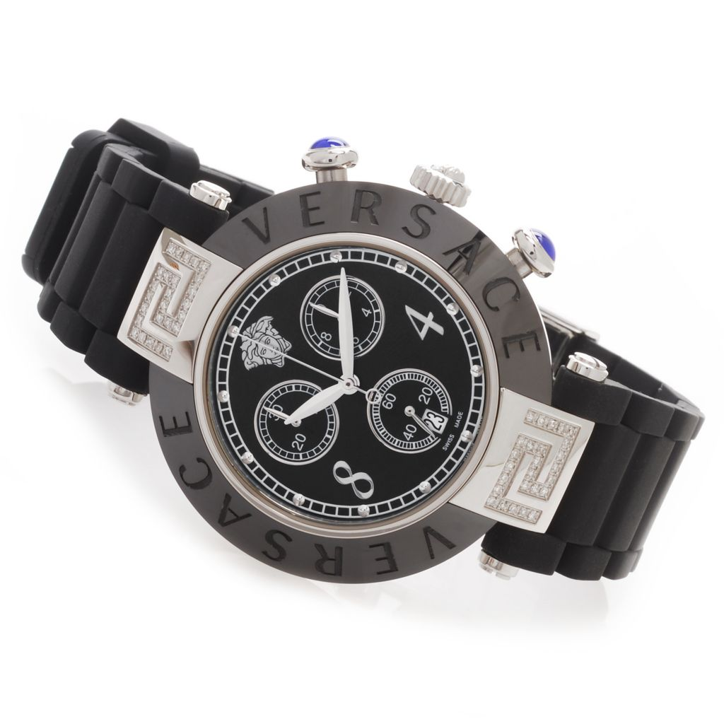 627-760 - Versace Women's Reve Swiss Made Quartz Chronograph 0.26ctw Diamond Accented Rubber Strap Watch