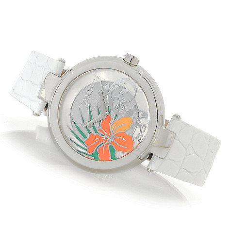 627-767 - Versace Women's Mystique Hibiscus Swiss Made Quartz Stainless Steel Case Leather Strap Watch