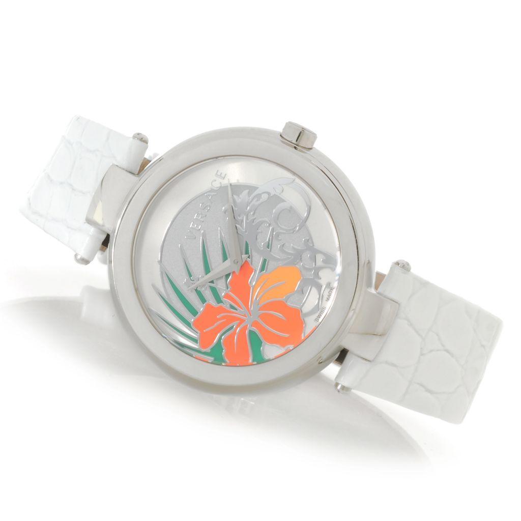 627-767 - Versace Women's Mystique Hibiscus Swiss Made Quartz Stainless Steel Case Leather Strap Watch