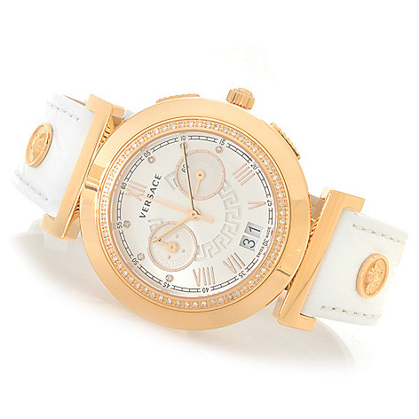 627-769 - Versace Women's Vanitas Swiss Made Quartz Chronograph 0.23ctw Diamond Accented Strap Watch