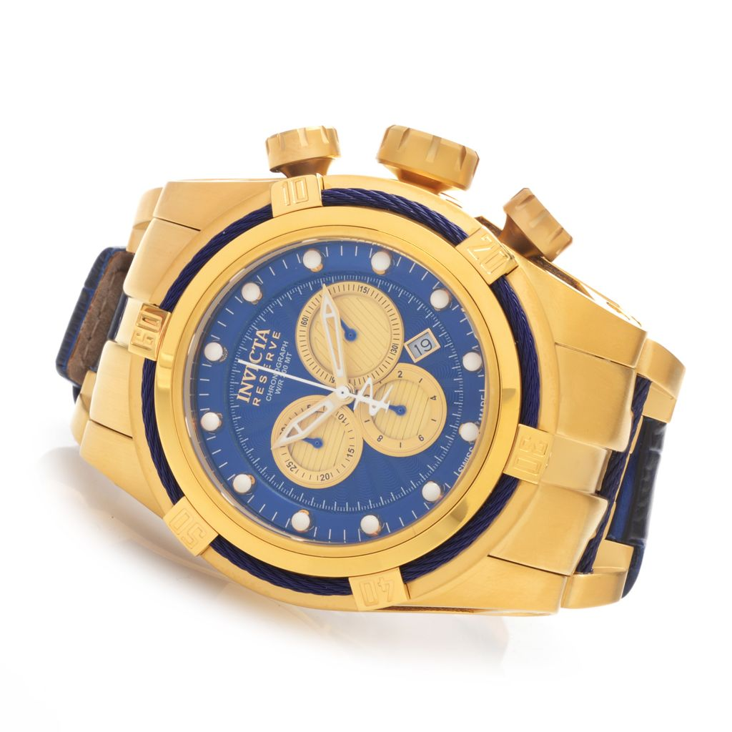 627-772 - Invicta Reserve 52mm Bolt Zeus Swiss Chronograph Leather Strap Watch w/ Three-Slot Dive Case