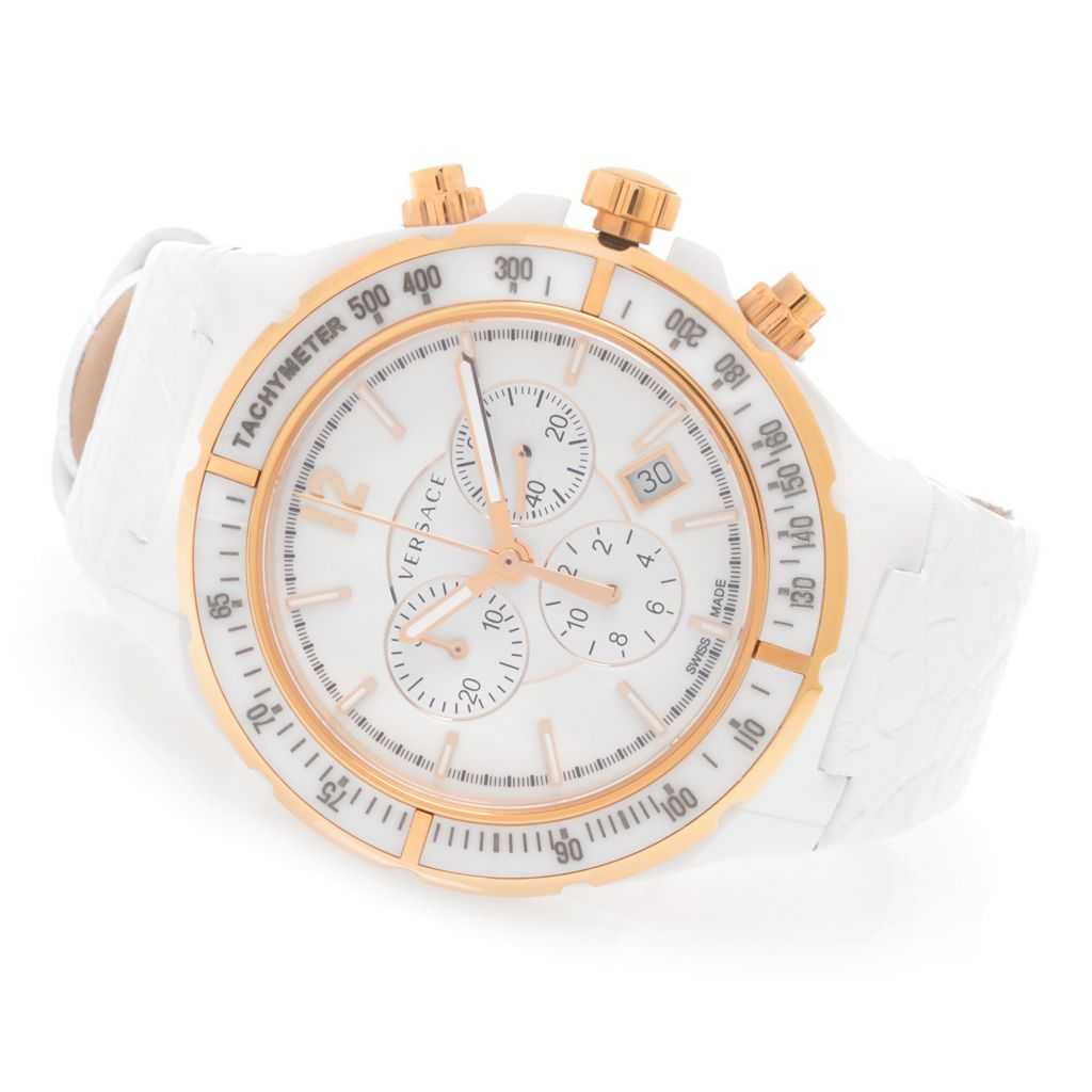 627-784 - Versace Women's DV One Cruise Swiss Made Quartz Chronograph Leather Strap Watch