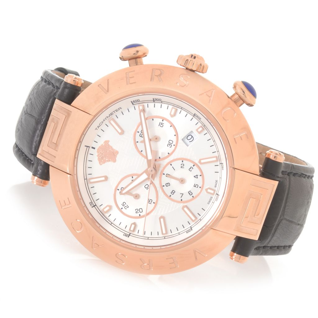 627-789 - Versace 46mm Reve Swiss Made Quartz Chronograph Stainless Steel Leather Strap Watch