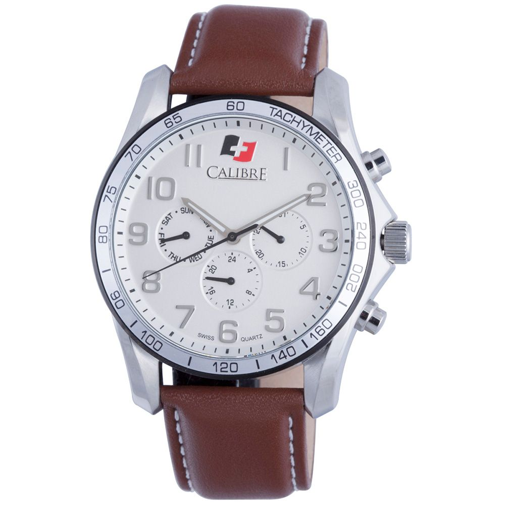 627-790 - Calibre 44mm Buffalo Swiss Quartz Multi Function Leather Strap Watch