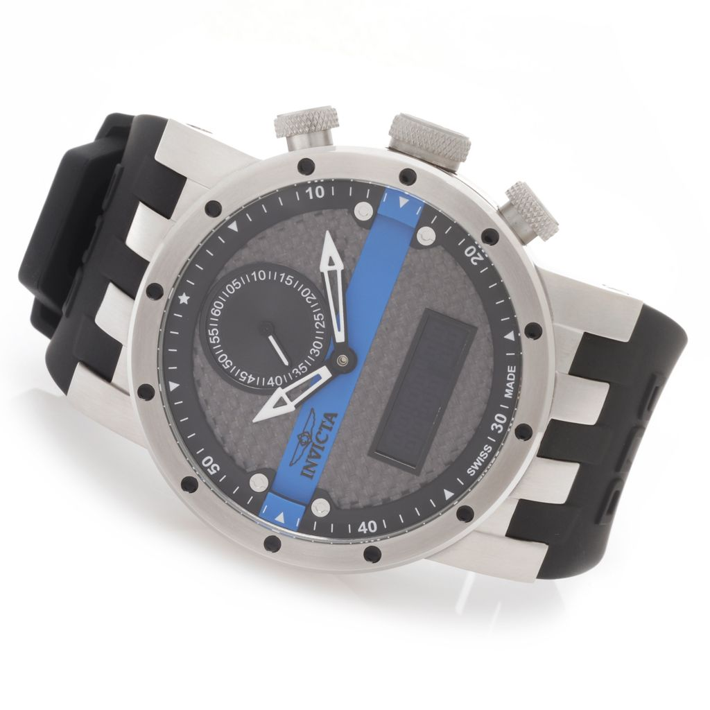 627-815 - Invicta 46mm DNA Swiss Quartz Analog & Digital Carbon Fiber Dial Silicone Strap Watch