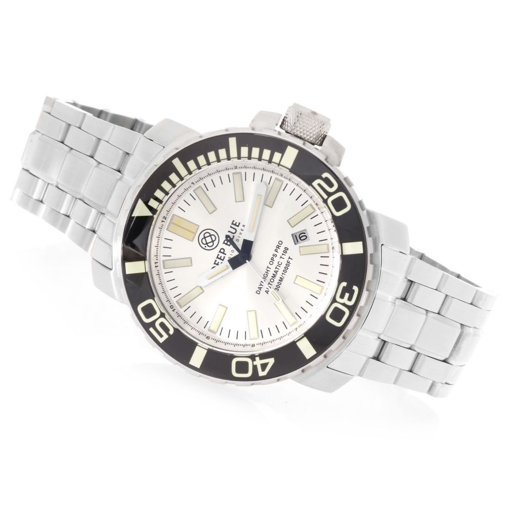 627-826 - Deep Blue 46mm Daynight Ops Pro Diver Automatic Tritium Tube Stainless Steel Bracelet Watch
