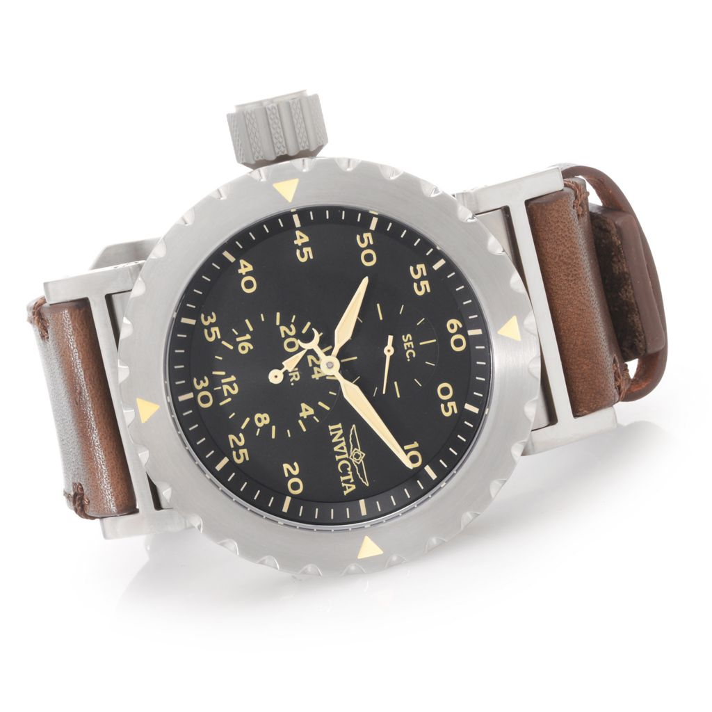627-842 - Invicta 52mm I Force Quartz GMT Stainless Steel Leather Strap Watch w/ Three-Slot Dive Case