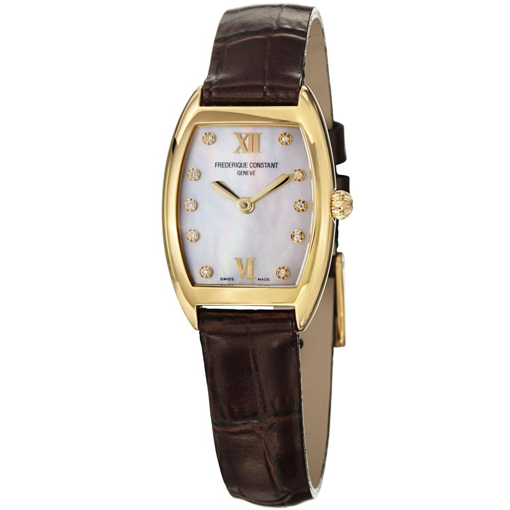 627-862 - Frederique Constant Tonneau Art Deco Swiss Quartz Mother-of-Pearl Leather Strap Watch-FC-200MPWD1T25