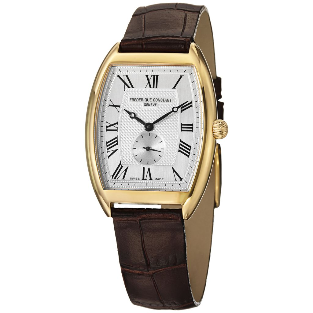 627-863 - Frederique Constant Tonneau Art Deco Swiss Quartz Leather Strap Watch - FC-235M3T25