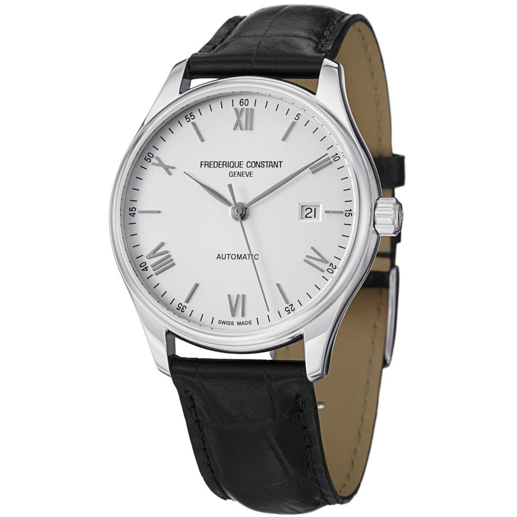 627-866 - Frederique Constant 45mm Index Swiss Automatic Leather Strap Watch - FC303SN5B6