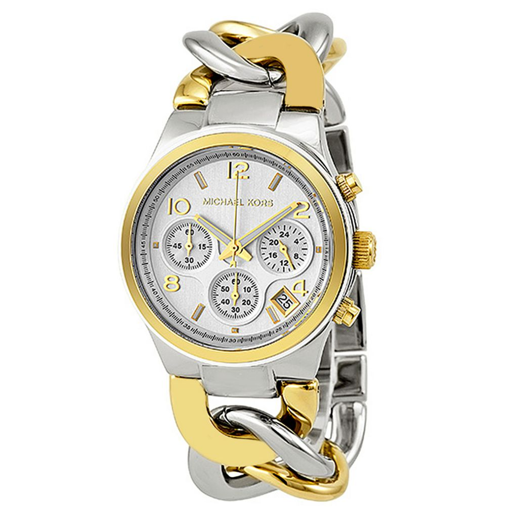 627-886 - Michael Kors Women's Runway Twist Quartz Chronograph Stainless Steel Bracelet Watch