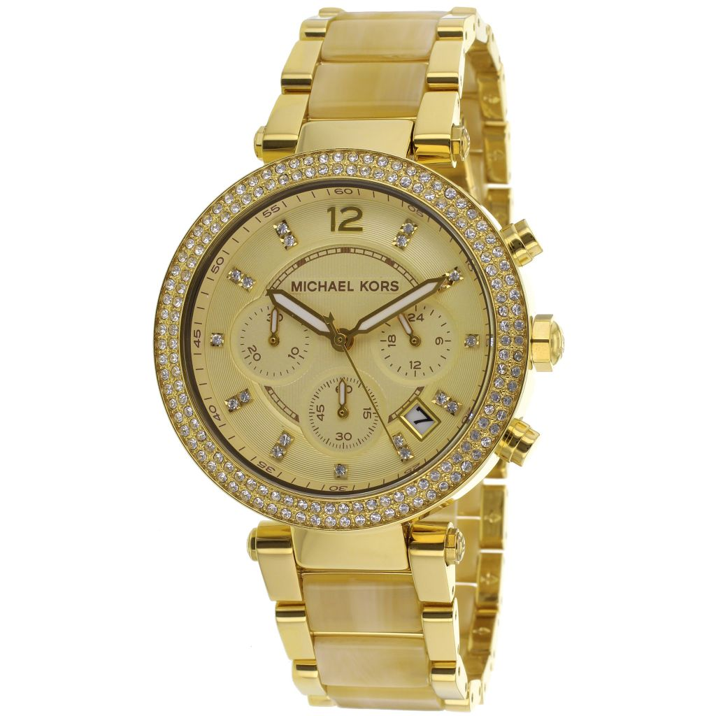 627-889 - Michael Kors 38mm Parker Quartz Chronograph Faux Horn & Stainless Bracelet Watch