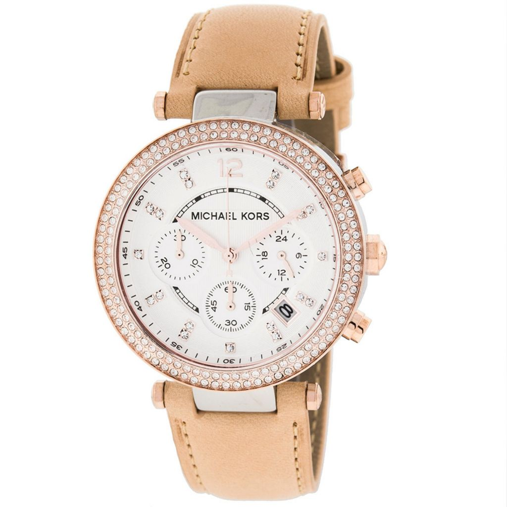 627-890 - Michael Kors 38mm Parker Quartz Chronograph Crystal Accented Leather Strap Watch