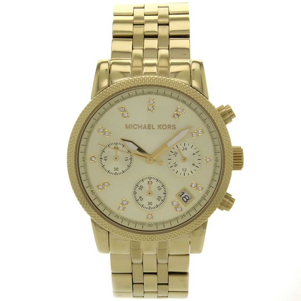 627-892 - Michael Kors 36mm Ritz Quartz Chronograph Stainless Steel Bracelet Watch