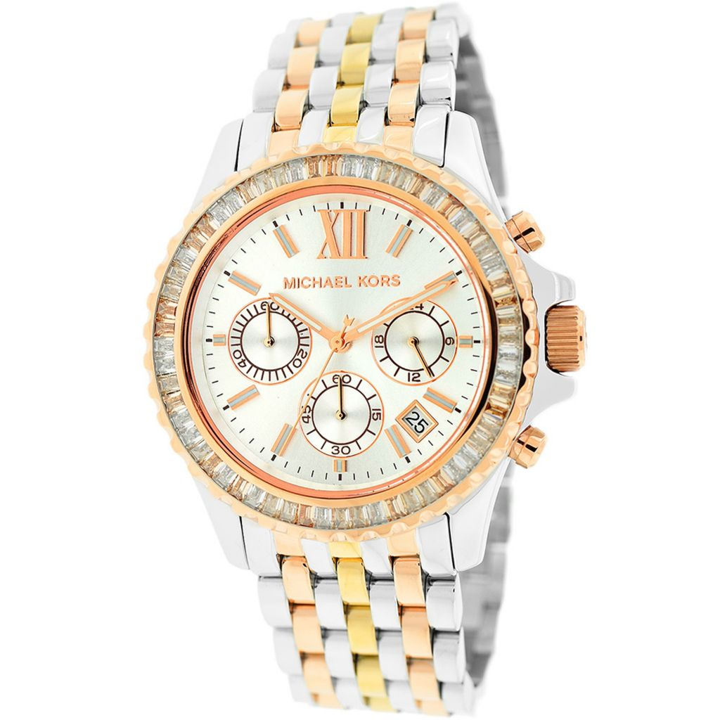 627-894 - Michael Kors 42mm Everest Quartz Chronograph Crystal Accent Tri-tone Bracelet Watch