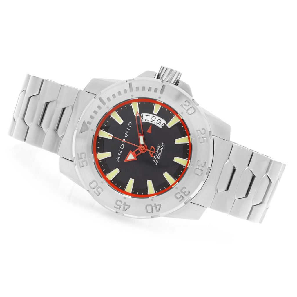 627-901 - Android 48mm Endeavor Automatic Stainless Steel Bracelet Watch w/ 3-Slot Travel Case