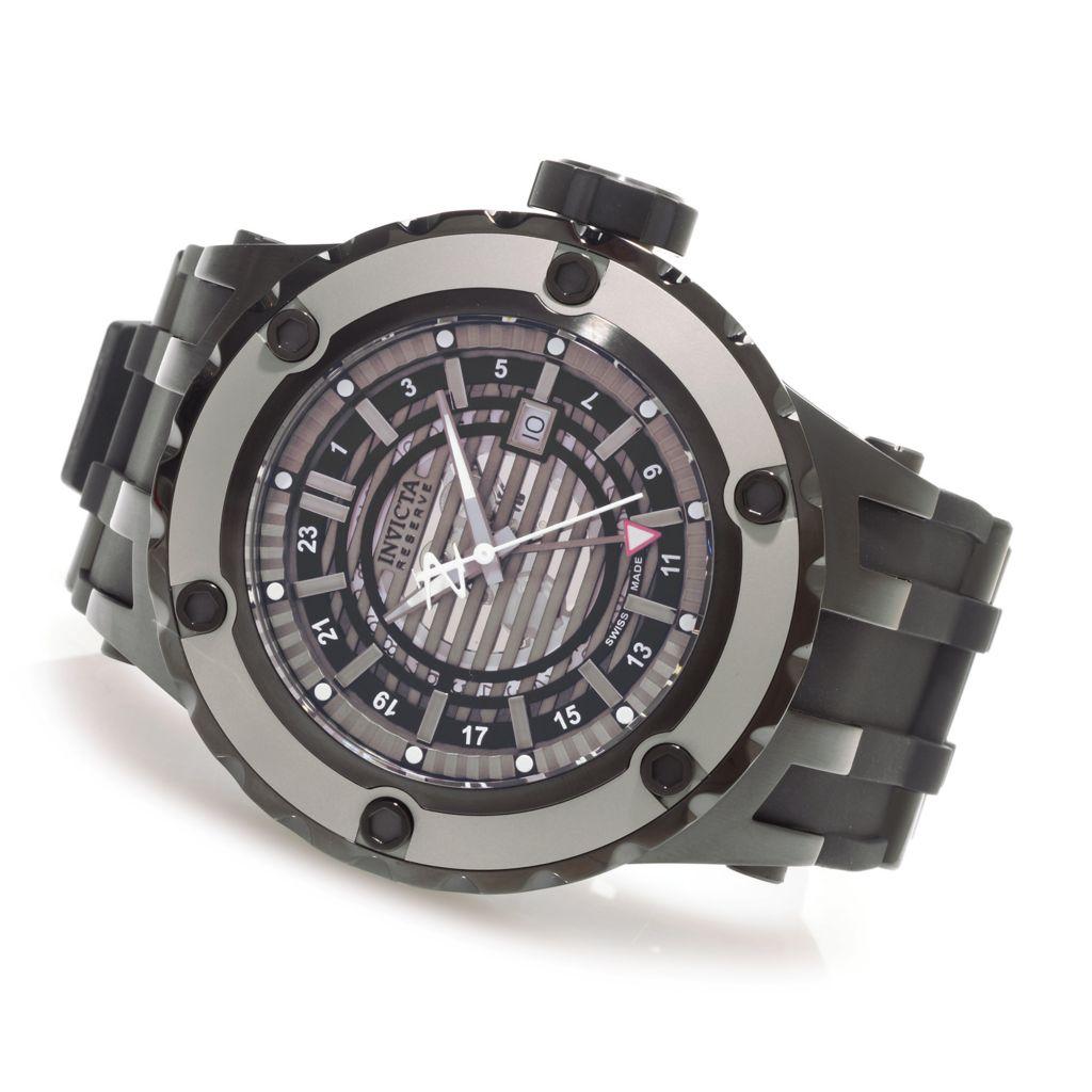 627-904 - Invicta Reserve 52mm Subaqua Specialty Quartz GMT Rubber Strap Watch w/ Three-Slot Dive Case