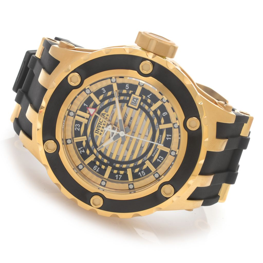 627-905 - Invicta Reserve 52mm Subaqua Specialty Quartz GMT Rubber Strap Watch w/ Three-Slot Dive Case
