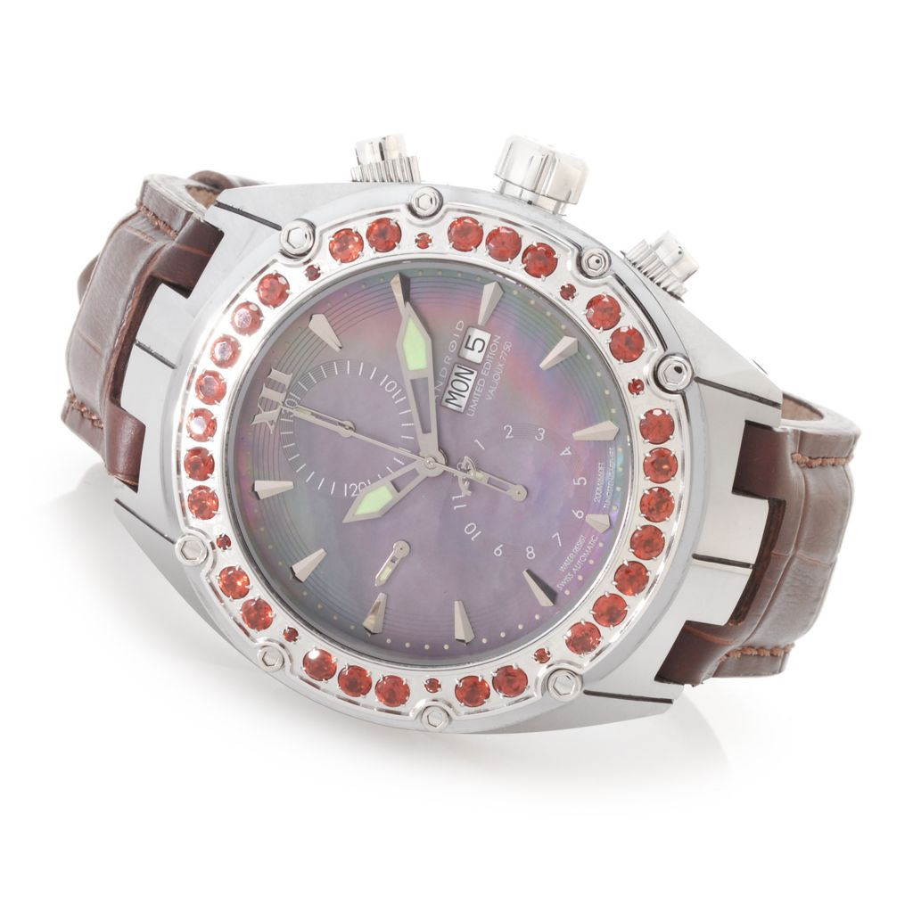 627-907 - Android 49mm Virtuoso Swiss Valjoux 7750 Gemstone Accented Tungsten Case Leather Strap Watch