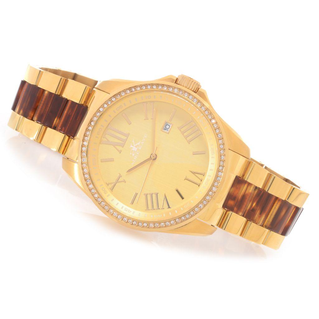 627-909 - Adee Kaye Women's Bluma Quartz Crystal Accented Stainless Steel Bracelet Watch