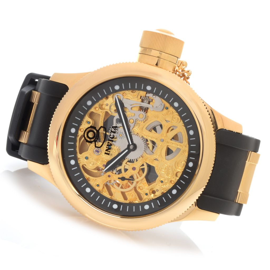 627-914 - Invicta 52mm Russian Diver Mechanical Polyurethane Strap Watch w/ Eight-Slot Dive Case