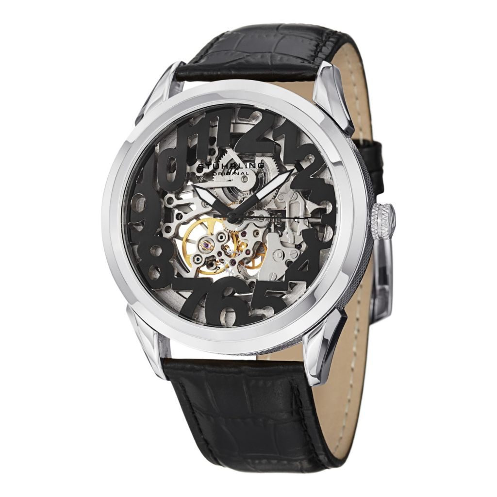 627-921 - Stührling Original 45mm Rosary Automatic Leather Strap Watch