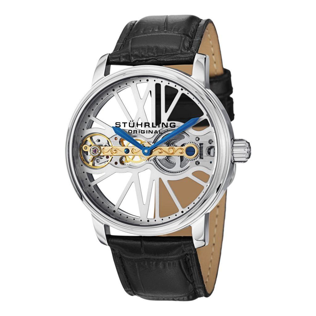 627-922 - Stührling Original 46mm Winchester Bridge Mechanical Leather Strap Watch