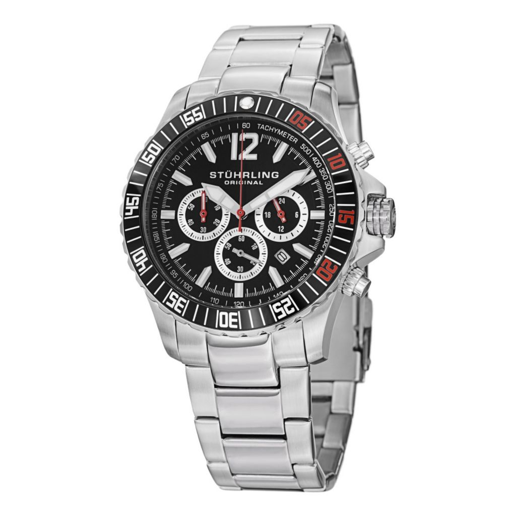 627-929 - Stührling Original 43mm Torricelli Quartz Chronograph Tachymeter Stainless Steel Bracelet Watch