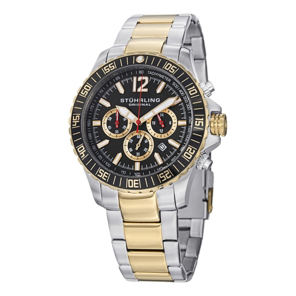 627-930 - Stührling Original 43mm Torricelli Quartz Chronograph Tachymeter Stainless Steel Bracelet Watch