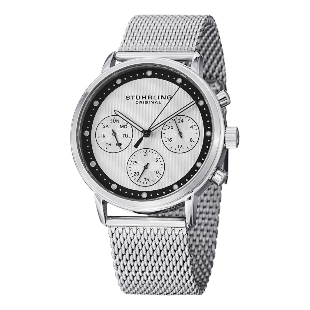 627-932 - Stührling Original 42mm Obscure Quartz Stainless Steel Mesh Bracelet Watch