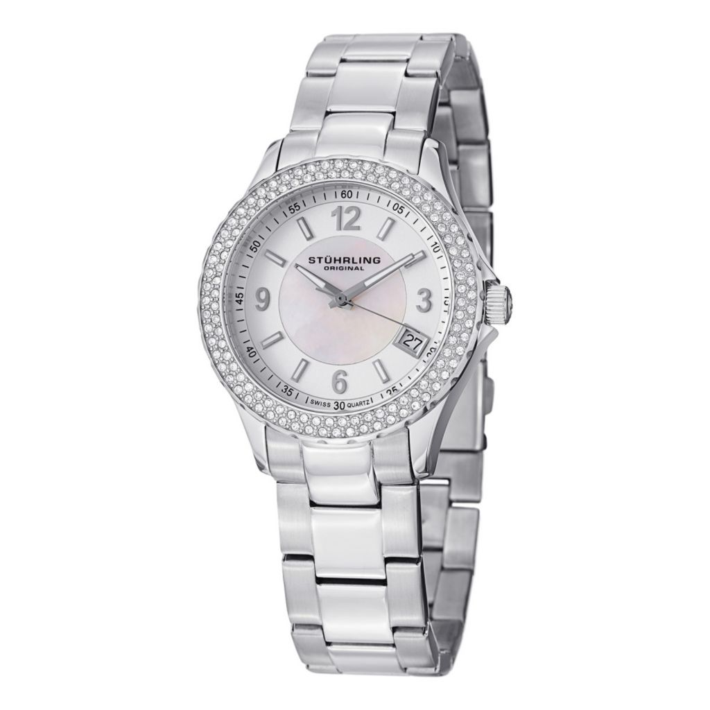 627-934 - Stührling Original Women's Iris Swiss Quartz Crystal Accented Stainless Steel Bracelet Watch