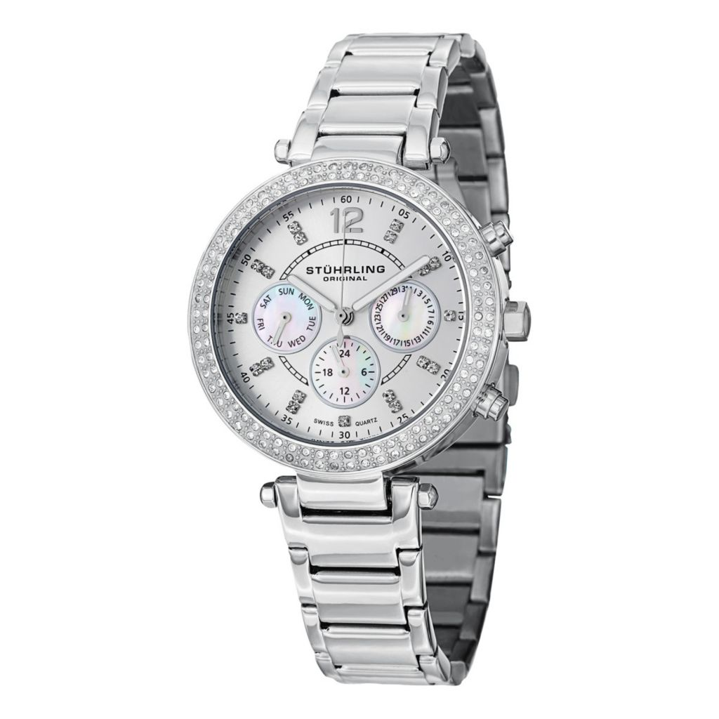 627-935 - Stührling Original Women's Damsel Quartz Crystal Accented Stainless Steel Bracelet Watch