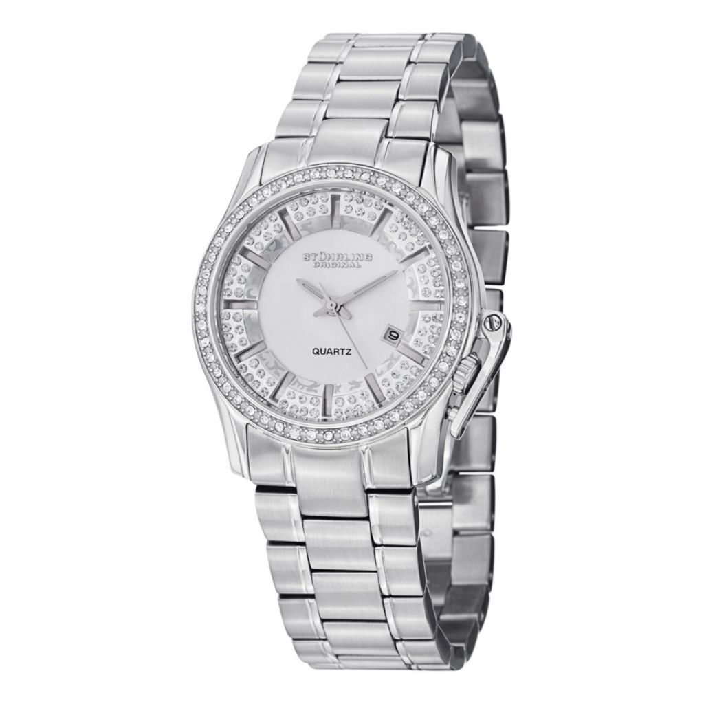 627-936 - Stührling Original Women's Calliope Swiss Quartz Crystal Accent Stainless Steel Bracelet Watch