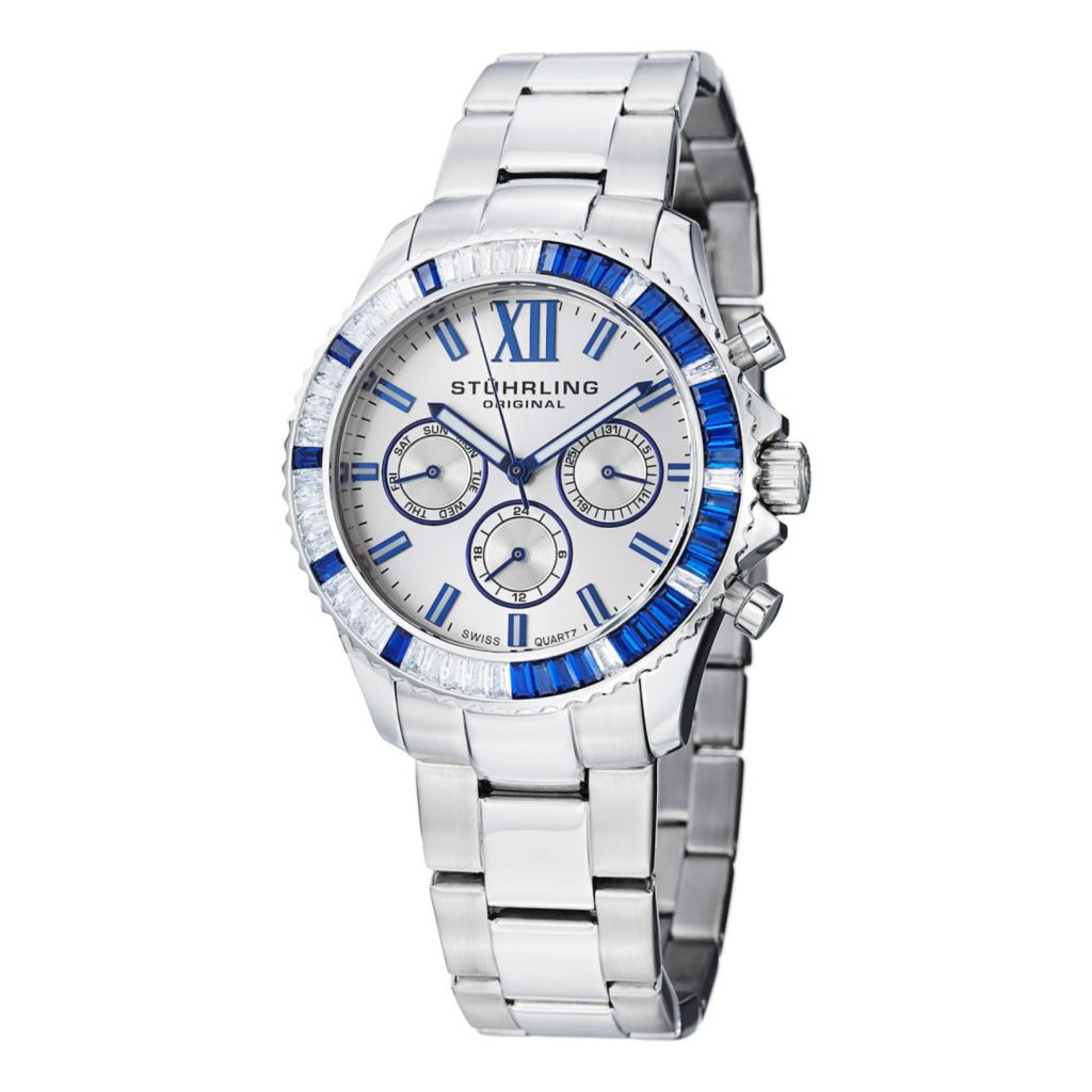 627-940 - Stührling Original Women's Coronia Quartz Crystal Accented Stainless Steel Bracelet Watch