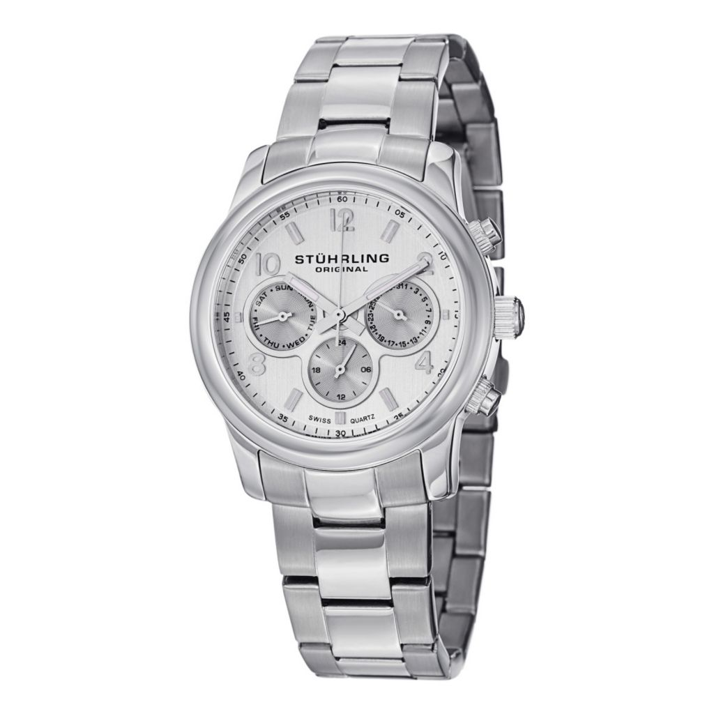 627-944 - Stührling Original Women's Aruba Day & Date Quartz Stainless Steel Bracelet Watch