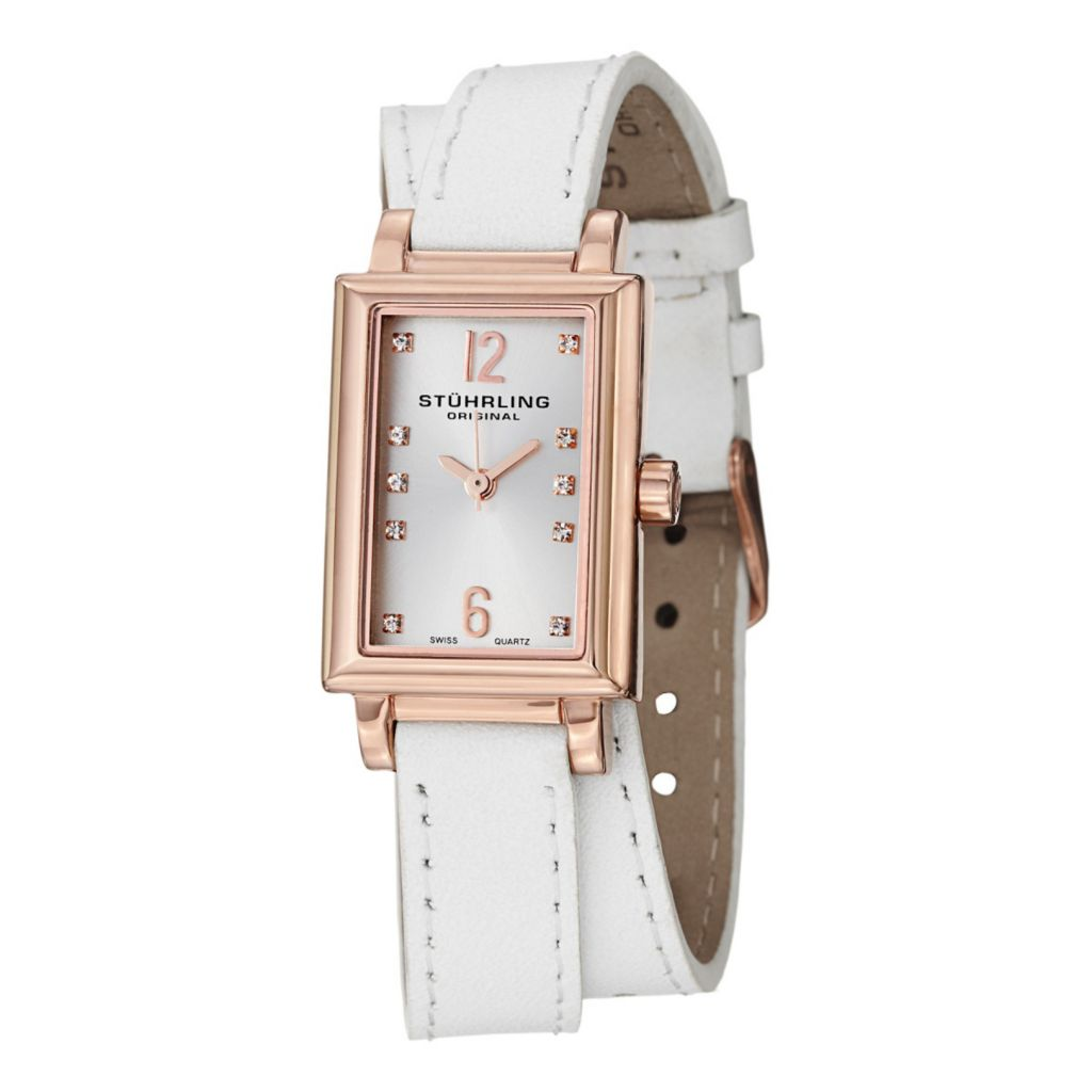 627-947 - Stührling Original Women's Paris Swiss Quartz Double Wrap Leather Strap Watch