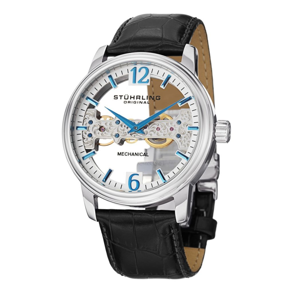 627-950 - Stührling Original 46mm Cardinal Mechanical Leather Strap Watch