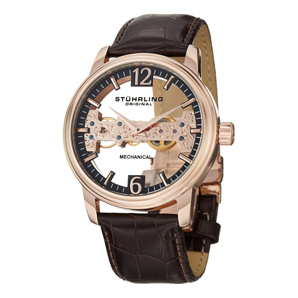 627-951 - Stührling Original 46mm Cardinal Mechanical Leather Strap Watch