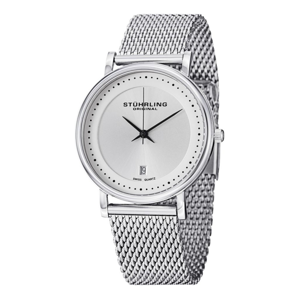 627-953 - Stührling Original 40mm Castorra Elite Swiss Quartz Stainless Steel Bracelet Watch